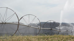 Irrigation system watering hay fields on a mountain valley farm. - stock footage