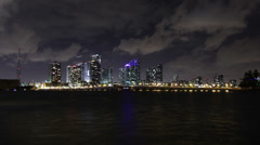 Skyline Miami Timelpase 4K Clouds and Water - stock footage