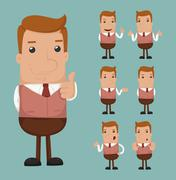 Set of businessman emotion Stock Illustration