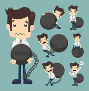 Set of businessman burden with debt Stock Illustration
