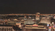 Stock Video Footage of Tight V2 Night pan time lapse Las Vegas Strip from Cosmopolitan Hotel penthouse