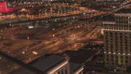 Stock Video Footage of Tight V3 Night pan time lapse Las Vegas Strip from Cosmopolitan Hotel penthouse
