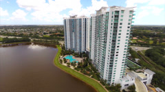 Residential architecture on a lake Stock Footage