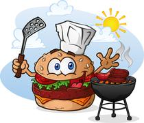 Stock Illustration of Hamburger Cheeseburger Cartoon Character Grilling with a Chef Hat