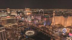Wide HD Night pan time lapse Las Vegas Strip from Cosmopolitan Hotel penthouse Stock Footage