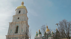 Handheld shot of Saint Sophia Cathedral Stock Footage