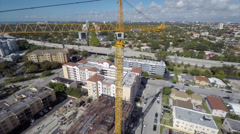 Construction crane aerial Stock Footage