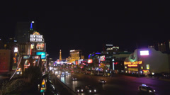 Panoramic aerial view New York people passing tourism attraction Las Vegas strip Stock Footage