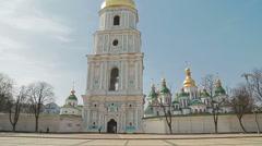 Saint Sophia Cathedral tower at Sofiiska square. Stock Footage