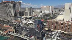 Aerial view panoramic Las Vegas Strip suburb city famous fabulous foot bridge US Stock Footage