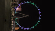Stock Video Footage of HD vertical High Roller worlds largest Ferris wheel by night time lapse 28mm