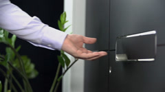 Close shot of man opening the doors Stock Footage