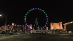 HD wide High Roller worlds largest Ferris wheel by night time lapse 28mm Stock Footage