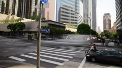 Downtown LA Intersection Daytime Time Lapse -Tilt Up- Stock Footage