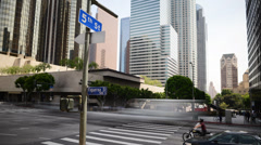 Downtown LA Intersection Daytime Time Lapse -Tilt Down- Stock Footage