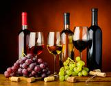 Stock Photo of grapes and wine