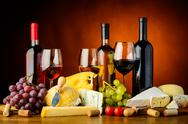 Stock Photo of cheese, wine and grapes