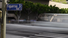 Downtown LA Intersection Daytime Time Lapse -Zoom Out- Stock Footage