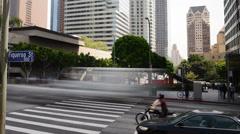 4K Downtown LA Intersection Daytime Time Lapse -Pan- Stock Footage