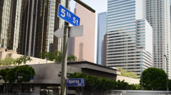 4K Downtown LA Intersection Daytime Time Lapse -Zoom Out- Stock Footage