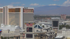 Timelapse aerial view Caesar Palace Mirage treasure Island hill mountain suburb  Stock Footage
