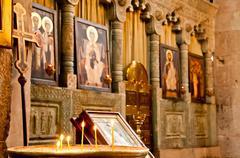 Altar in the old historic catholic church Stock Photos