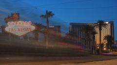 Timelapse traffic street Las Vegas strip welcome sign entrace sin city twilight  Stock Footage