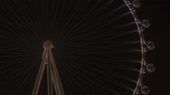 HD tight 3 High Roller worlds largest Ferris wheel by night time lapse 50mm Stock Footage