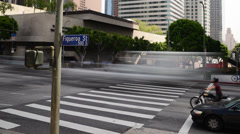 4K Downtown LA Intersection Daytime Time Lapse Stock Footage