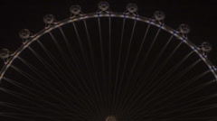 HD tight 2 High Roller worlds largest Ferris wheel by night time lapse 50mm - stock footage