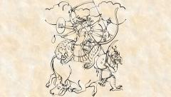 Hindu Goddess - Durga Drawing (HD) Stock Footage