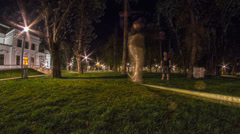 Two friends walk slackline in the park HD psychedelic proccesing Stock Footage