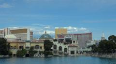 Timelapse Bellagio fountain USA US caesar palace mirage Las Vegas strip tourist Stock Footage