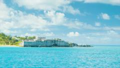 Passing Bermuda's Fort St Catherine from the Ocean - stock footage