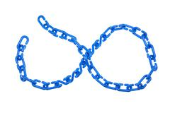 Blue plastic chain put as infinity isolated Stock Photos