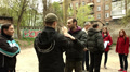 Cinema  Actors train a fight scene on  street.Editorial Footage