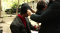 Man's make-up of the film actor lake hobo.Editorial  Footage