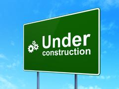 Web design concept: Under Construction and Gears on road sign Stock Illustration