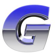 chrome alphabet symbol letter g with color gradient reflections isolated on w - stock illustration