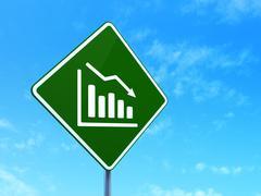 Marketing concept: Decline Graph on road sign background - stock illustration