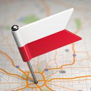 Stock Illustration of Poland Small Flag on a Map Background.