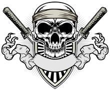 samurai skull - stock illustration