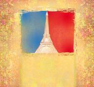 Eiffel tower - vintage abstract card Stock Illustration