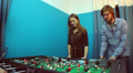 People playing table soccer, team-building, socializing, resting HD Footage