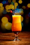 Fresh drink coctail on a color background blur bokeh Stock Photos