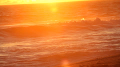 Pacific Ocean Waves at Sunset Stock Footage