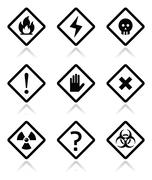 Danger, warning, attention square icons set Stock Illustration