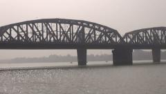 Big bridge on Hoogly river in Colcata, India Stock Footage