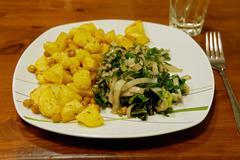vegan garlic-swiss chard - stock photo