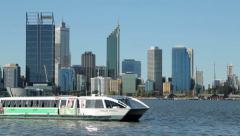 Perth skyline, australia, phillip pendal ferry Stock Footage